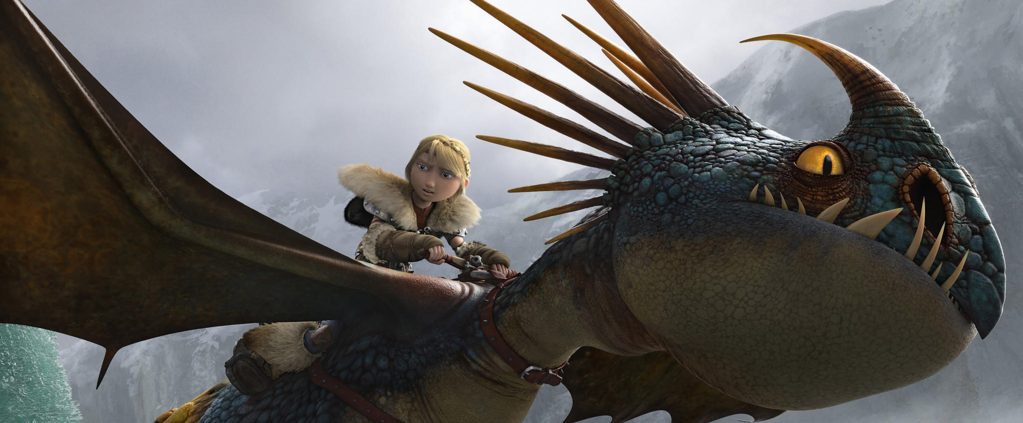 "Astrid (America Ferrara) rides her faithful dragon in the film ""How to Train Your Dragon 2."""