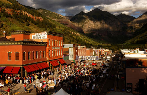 Crowds gather for opening day of the 28th Telluride Film Festival in Telluride, CO.