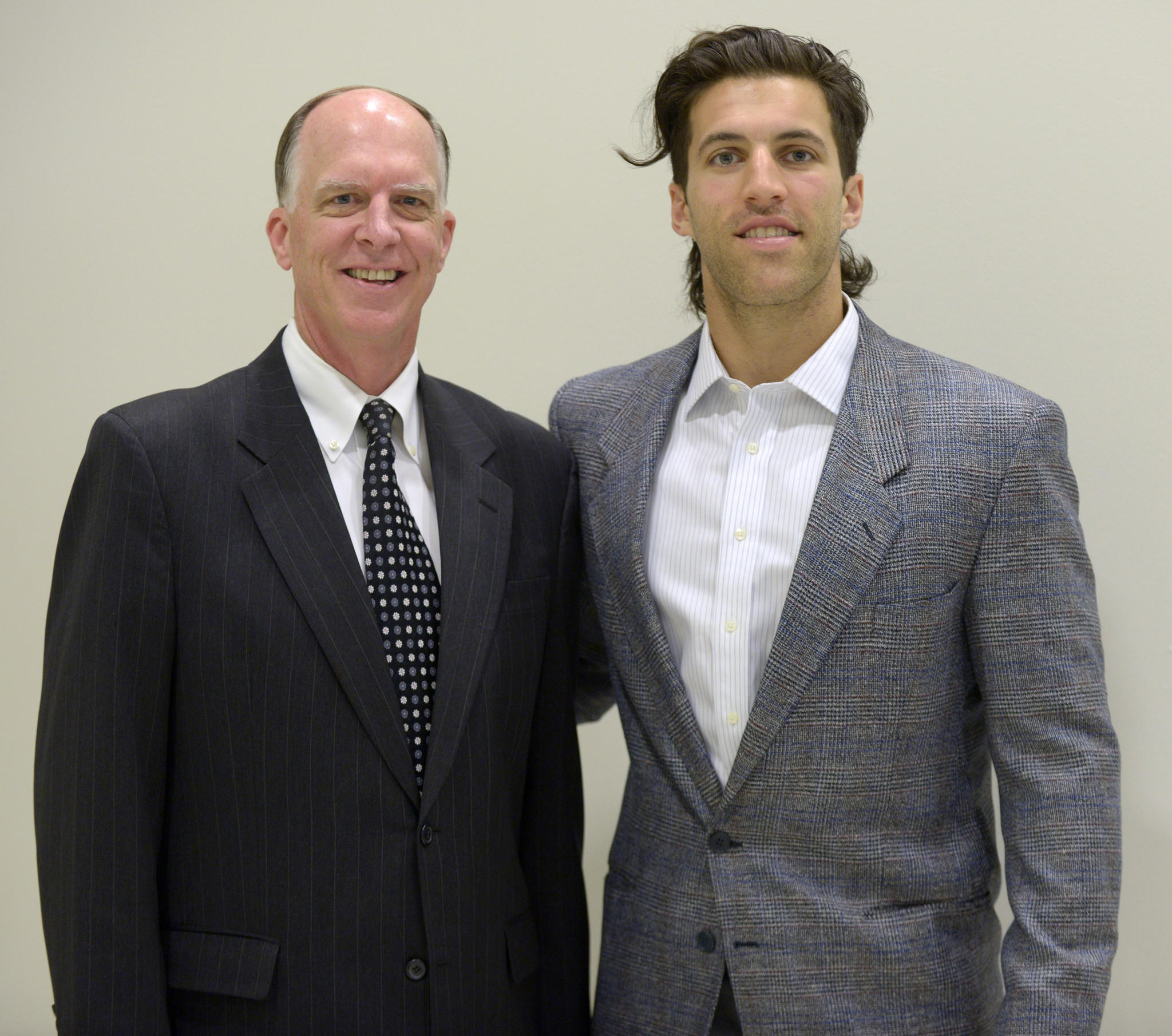 Paul Rabil, right, with Tim Ryan, publisher of The Baltimore Sun Media Group, at The Baltimore Sun High School Athletes of the Year luncheon.