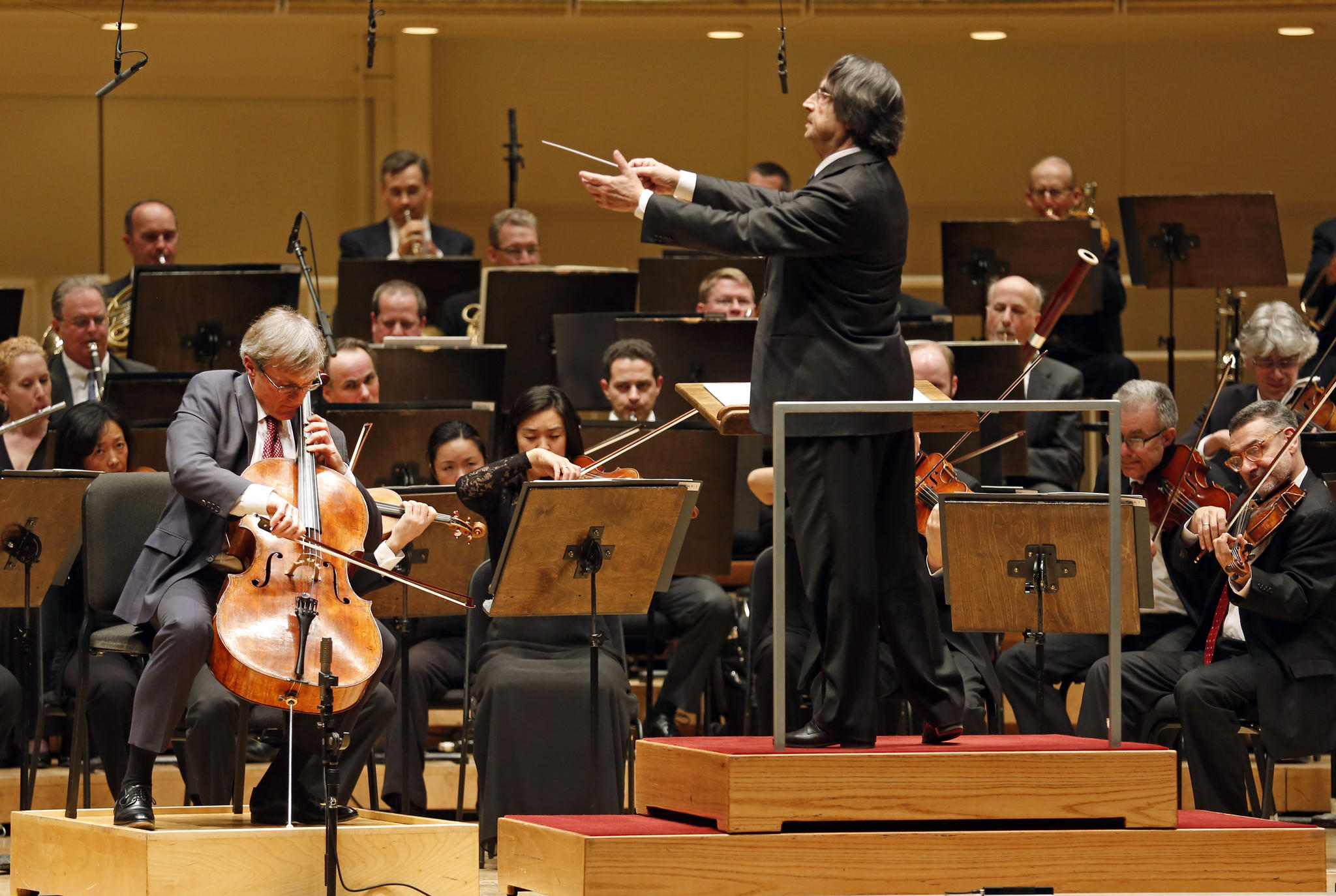 Riccardo Muti and the Chicago Symphony Orchestra, performing with cellist John Sharp, at Symphony Center.