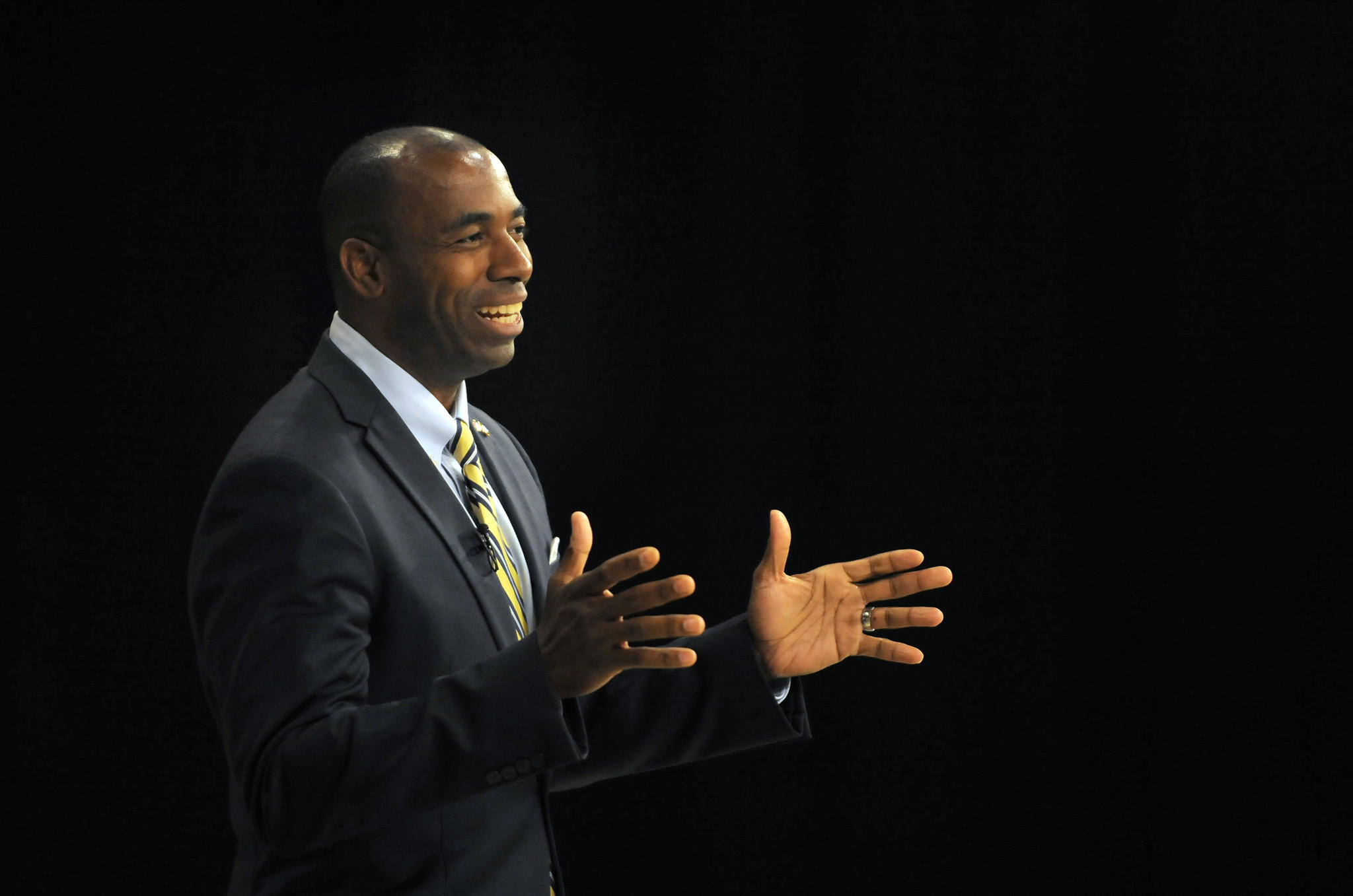 Charles Lollar speaks during the taped debate this afternoon.