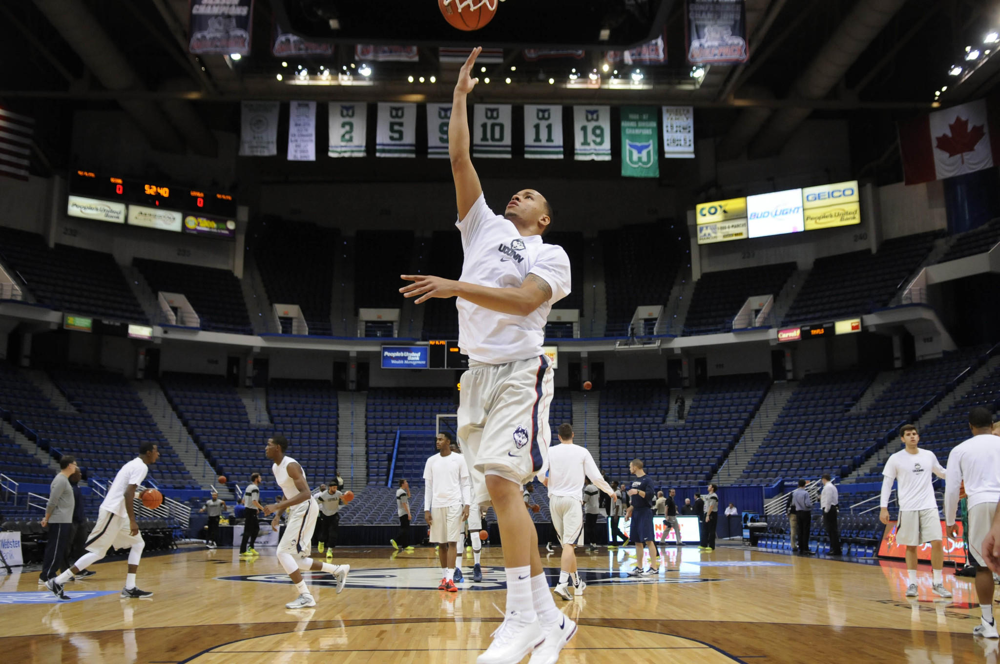 Guard Shabazz Napier warms up before a game in November at the XL Center. About $35 million in state-funded upgrades are underway at the XL Center and expected to be largely completed by October.