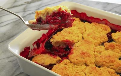Mixed berry cobbler with orange-scented biscuits