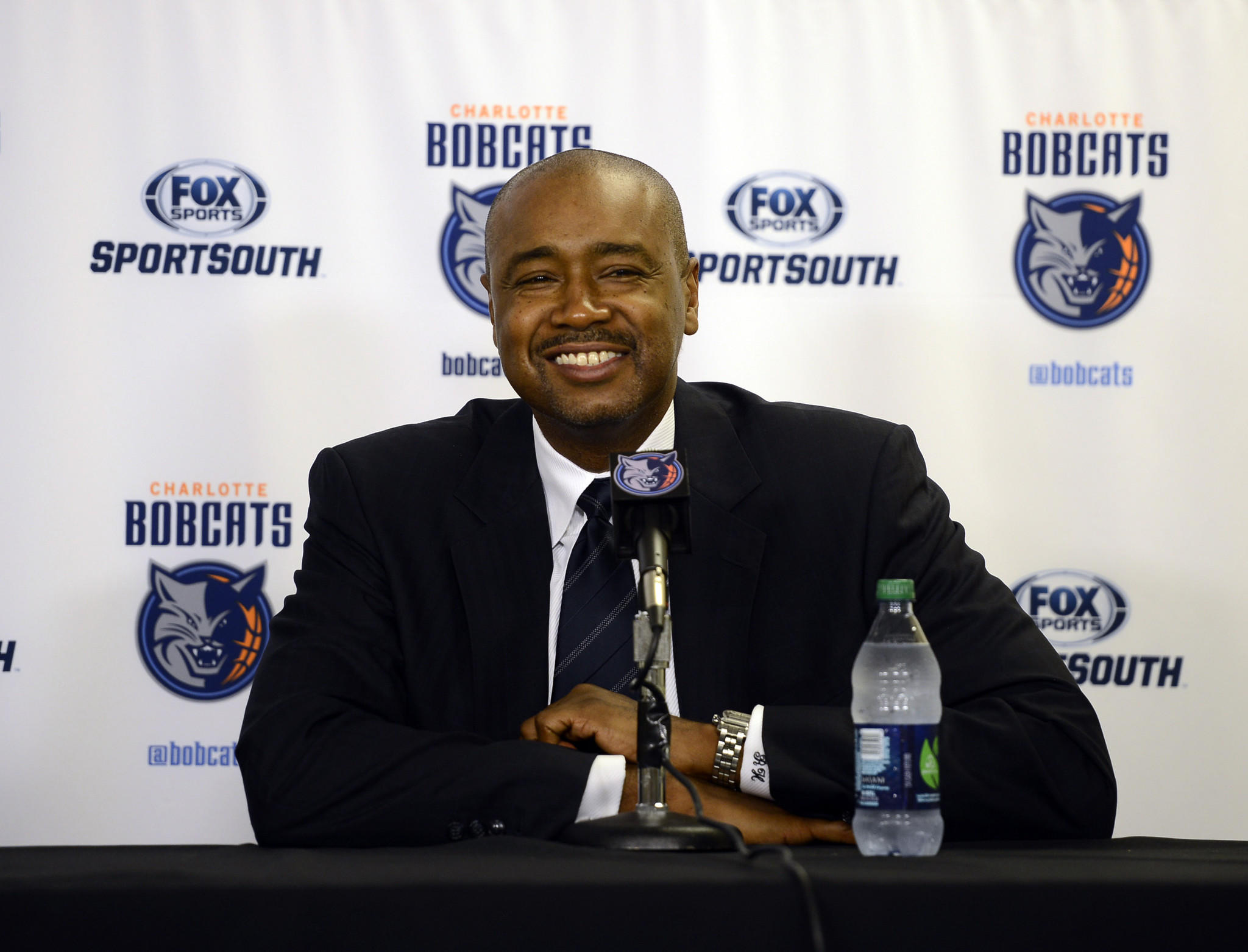 Bobcats president of basketball operations Rod Higgins during a press conference in 2013.