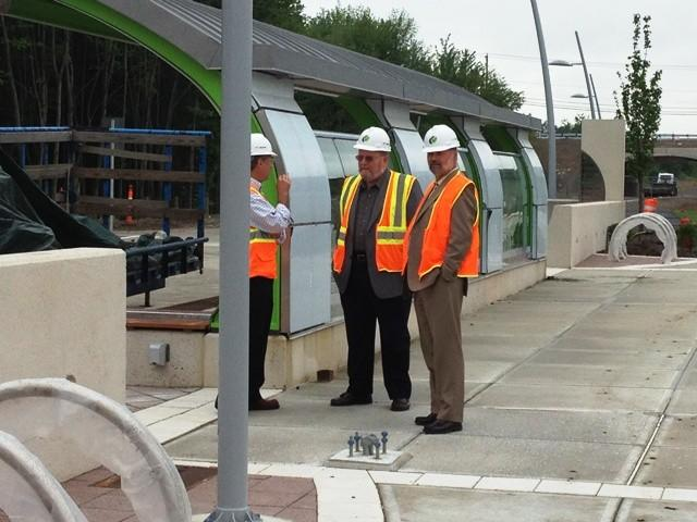 Community leaders from central Connecticut tour one of the partly completed stations of CTfastrak on June 12.