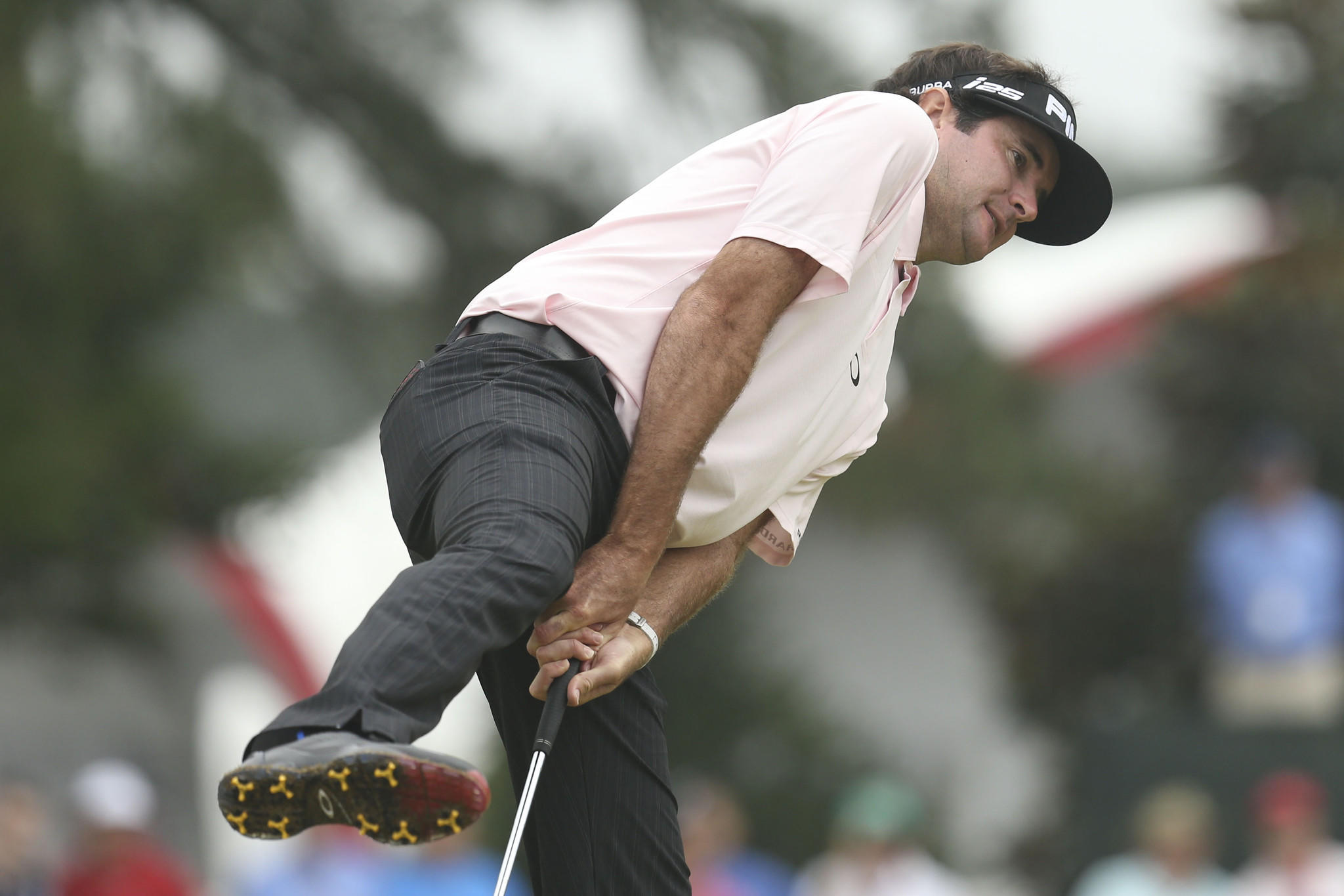Jun 13, 2014; Pinehurst, NC, USA; Bubba Watson reacts after his putt on the 13th green during the second round of the 2014 U.S. Open golf tournament at Pinehurst Resort Country Club - #2 Course. Mandatory Credit: Jason Getz-USA TODAY Sports ORG XMIT: USATSI-143060