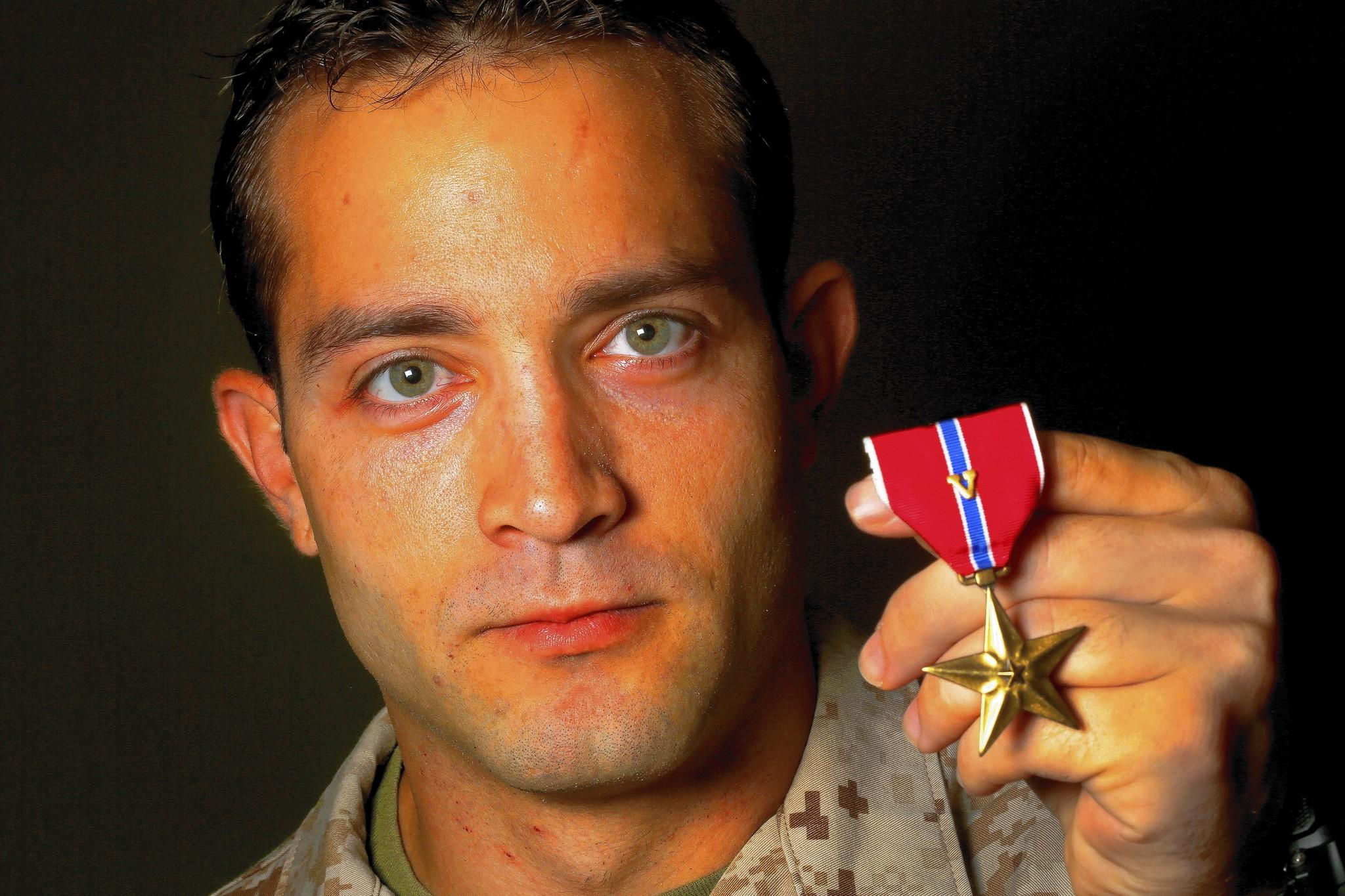 Sgt. Christian Marlow of Weston was awarded the Bronze Star with Valor for his combat work in Afghanistan.