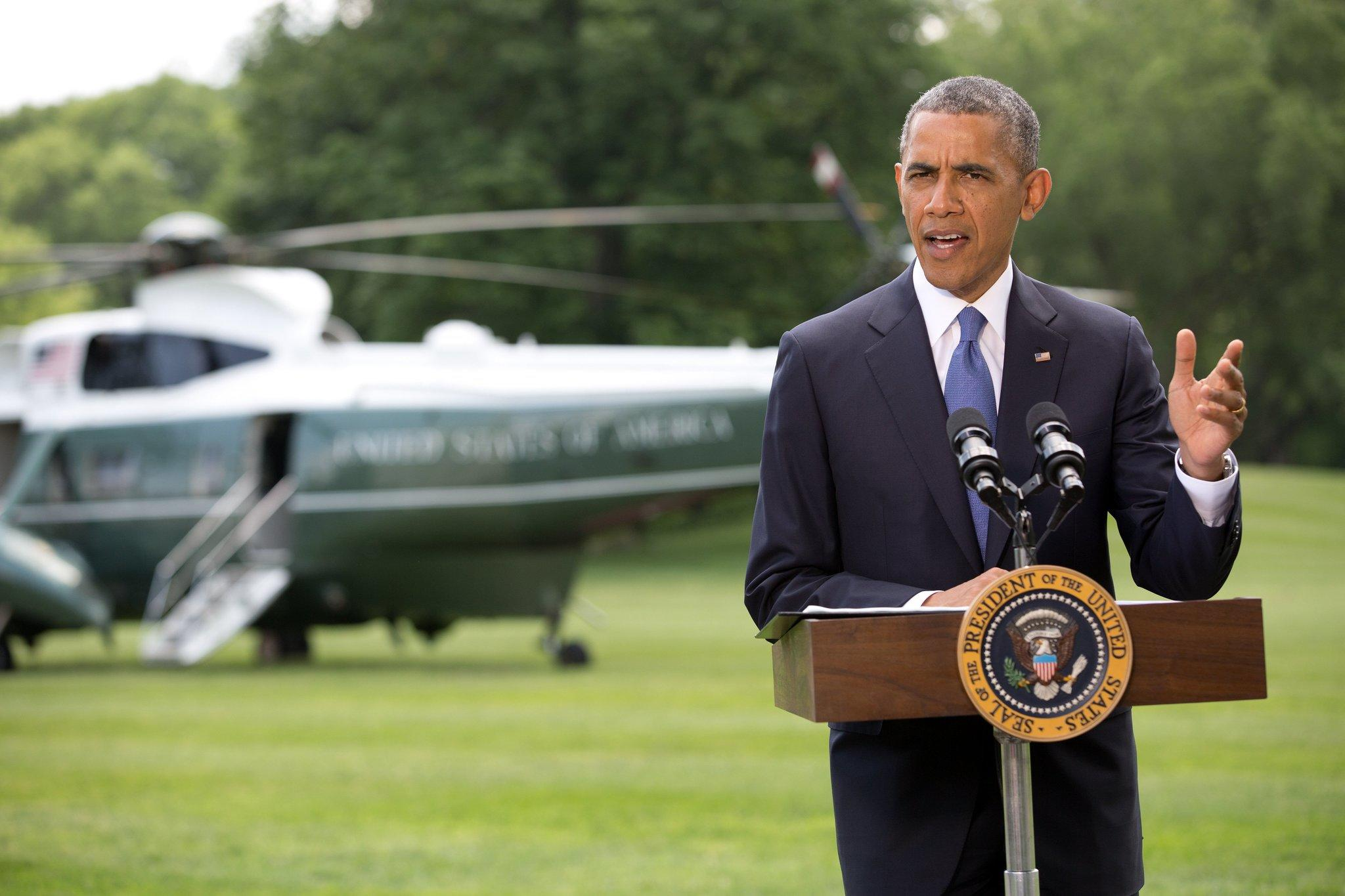 President Barack Obama makes a statement on the situation in Iraq prior to departing the South Lawn of the White House in Washington, D.C., for a trip to North Dakota on June 3