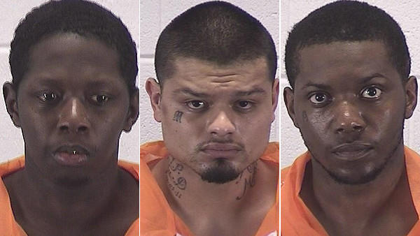 Booking photos of Ajaie Martin, Arturo Trejo and Alexander Turner (from left)