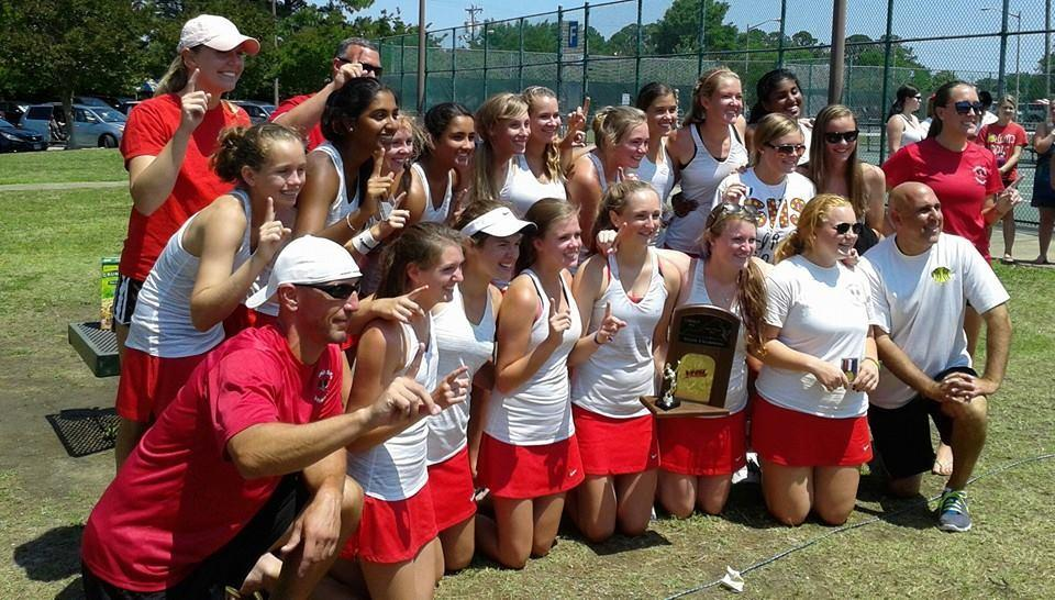 The Mills Godwin High girls won their ninth state team crown in 13 years, taking the 2014 5A championship with a 5-1 win against George Marshall at Huntington Park.
