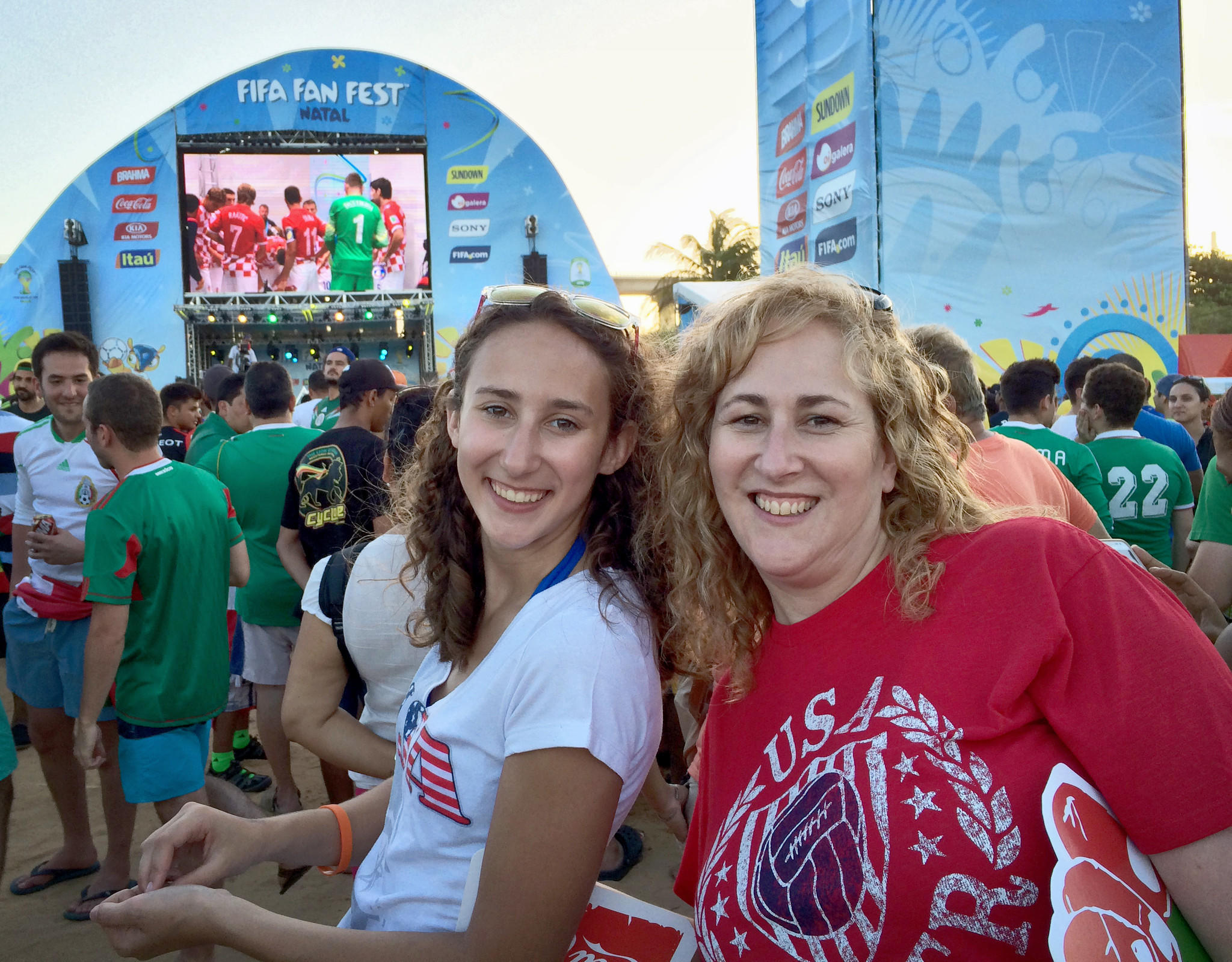 Hannah Smith and her mother, Rori, take in World Cup festivities in Brazil.