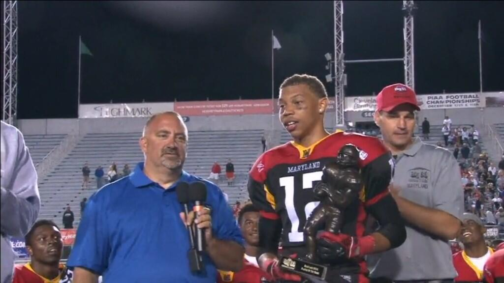 Josh Woods (McDonogh) was named Player of the Game for Team Maryland in its 31-24 win over Pennsylvania in the Big 33 Football Classic at Hersheypark Stadium.