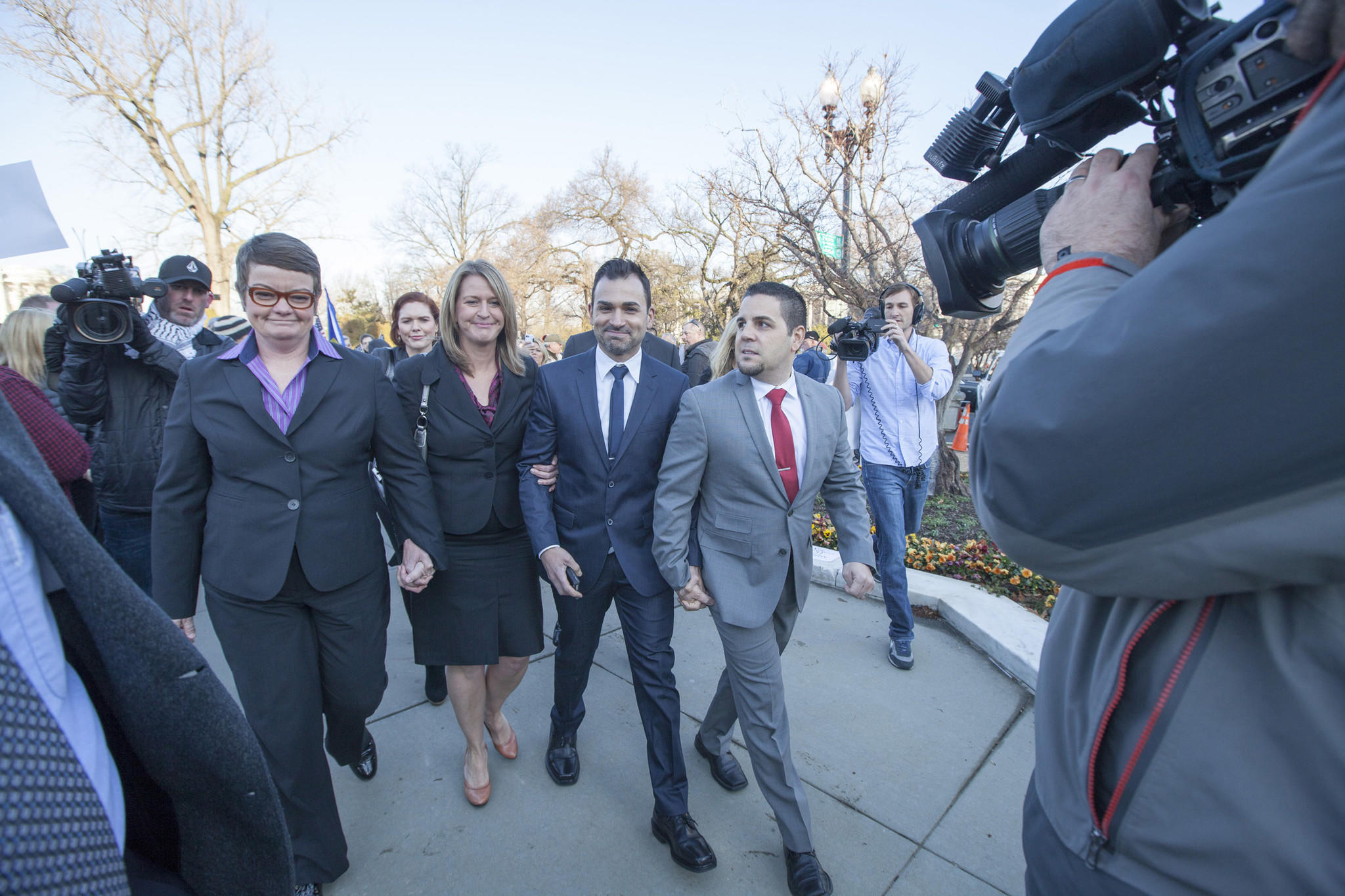 (L to R): Kris Perry, Sandy Stier, Jeff Zarrilla and Paul Katami arriving for court. Photo Courtesy of AFER/Diana Walker/HBO