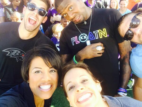 Ravens Justin Tucker, Jacoby Jones and Kyle Jusczyk pose for a selfie with Baltimore Mayor Stephanie Rawlings-Blake and NBC Today show anchor Jenna Wolfe.