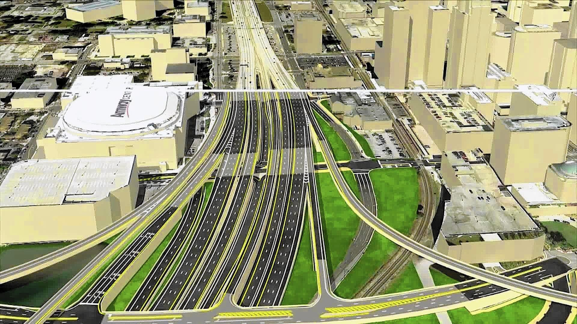 The I-4 Mobility Partners team led by the Swedish international construction conglomerate Skanska won the $2.3 billion bid to rebuild Interstate 4 through downtown Orlando. This photo is a screen grab from the computer animation of the project.