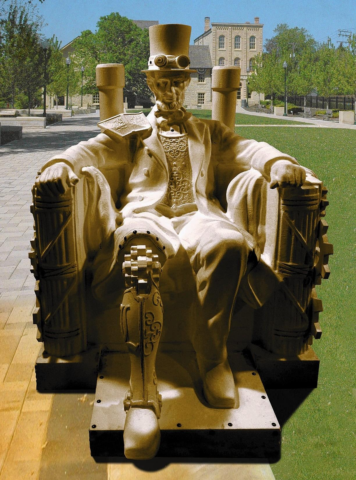 "A steampunk version of Abraham Lincoln is among the large-scale outdoor art installations featured in ""The Visionaries: Summer Art Series"" running June 14 to Aug. 17 in Lockport."