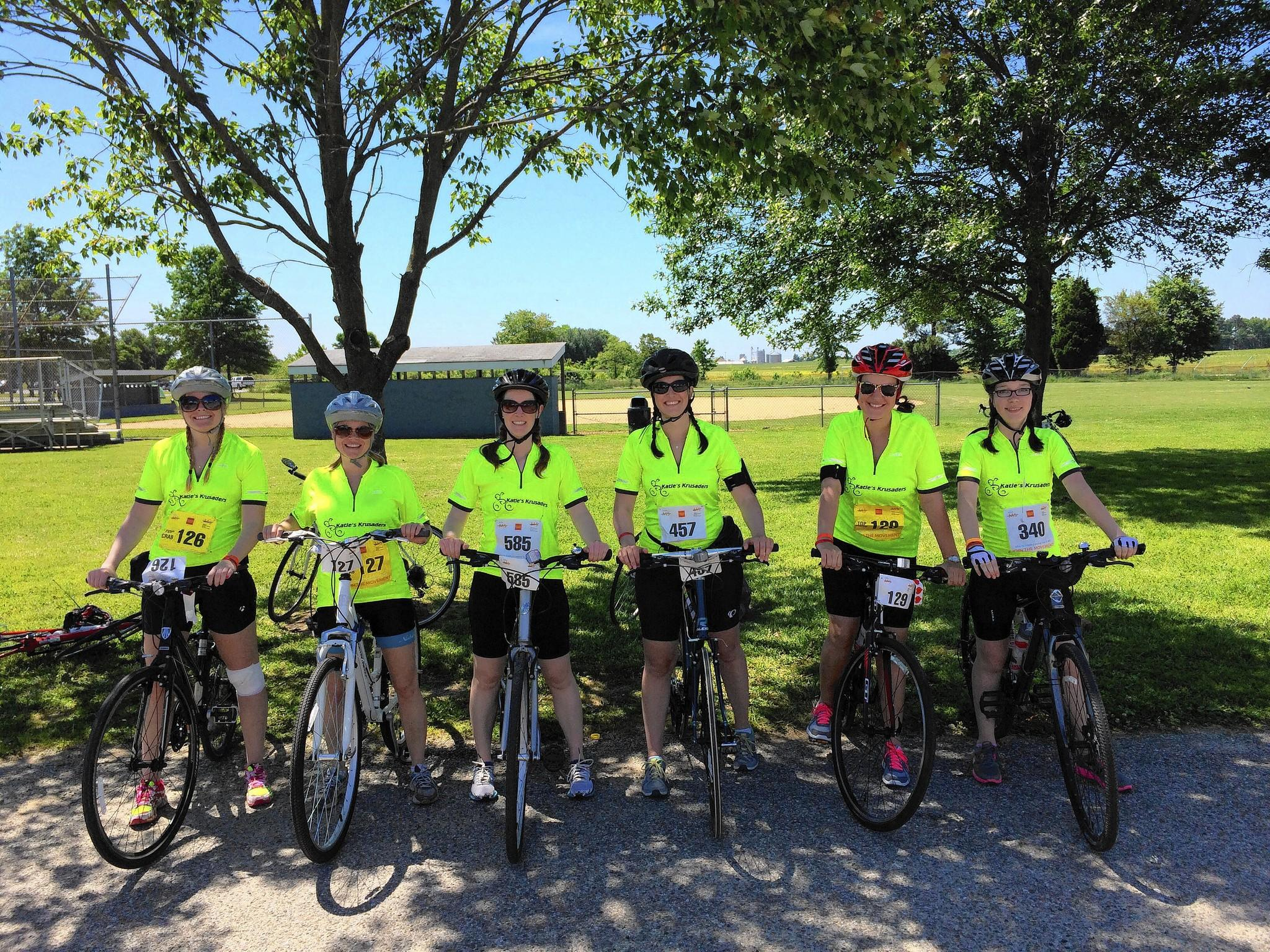 Katie's Krusaders along the MS bike challenge on the Eastern Shore included Katie Conn (second from right) and her 15-year-old sister, Grace Edwards, Colleen Cash, Ellen Laughlin, Beth Eklund and Mariellen Benedetto.