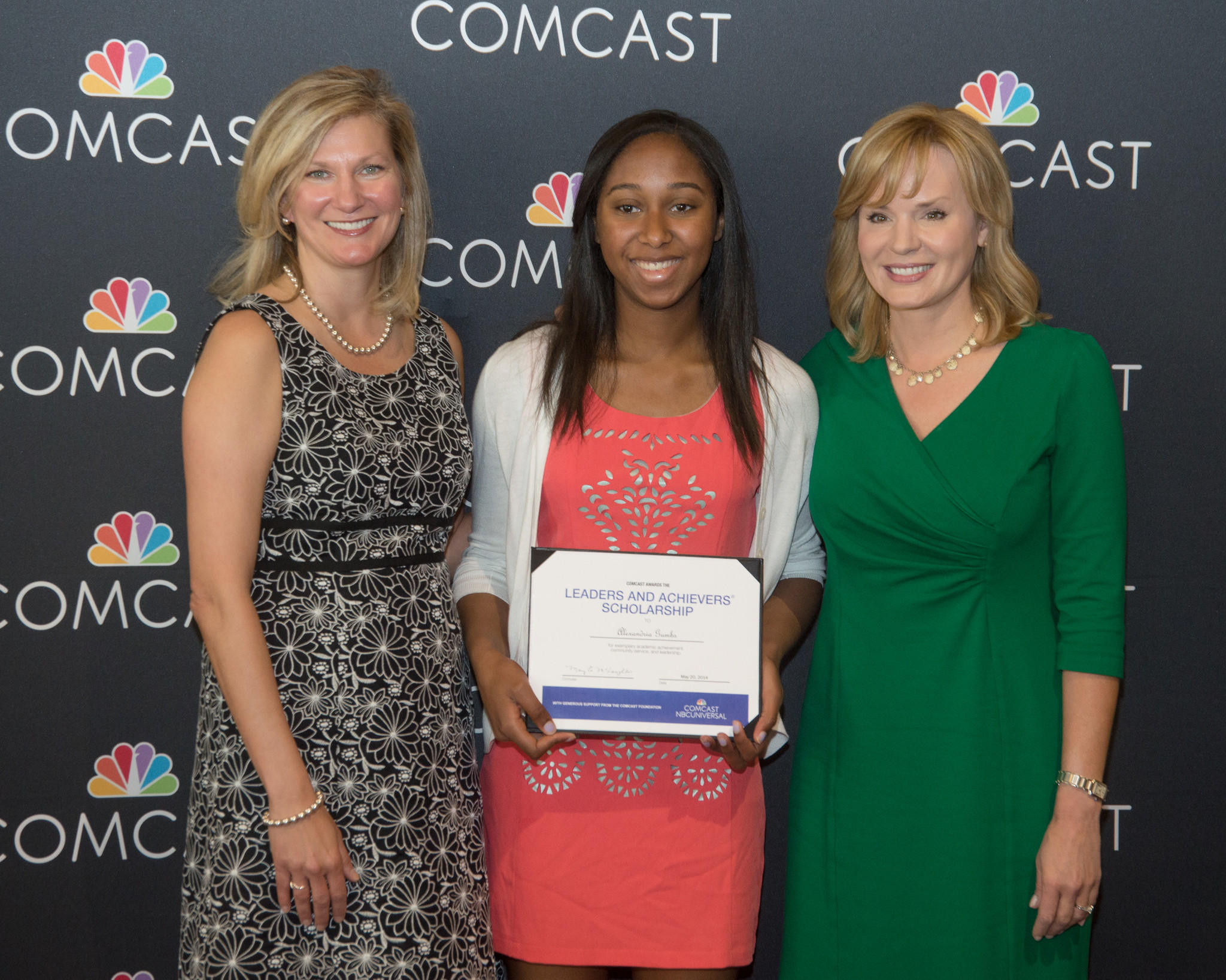 Left to right: Kristen Roberts, Comcast VP of Community Investment, Alexandria R. Gumbs, and Lisa Carberg, NBC Connecticut news anchor.