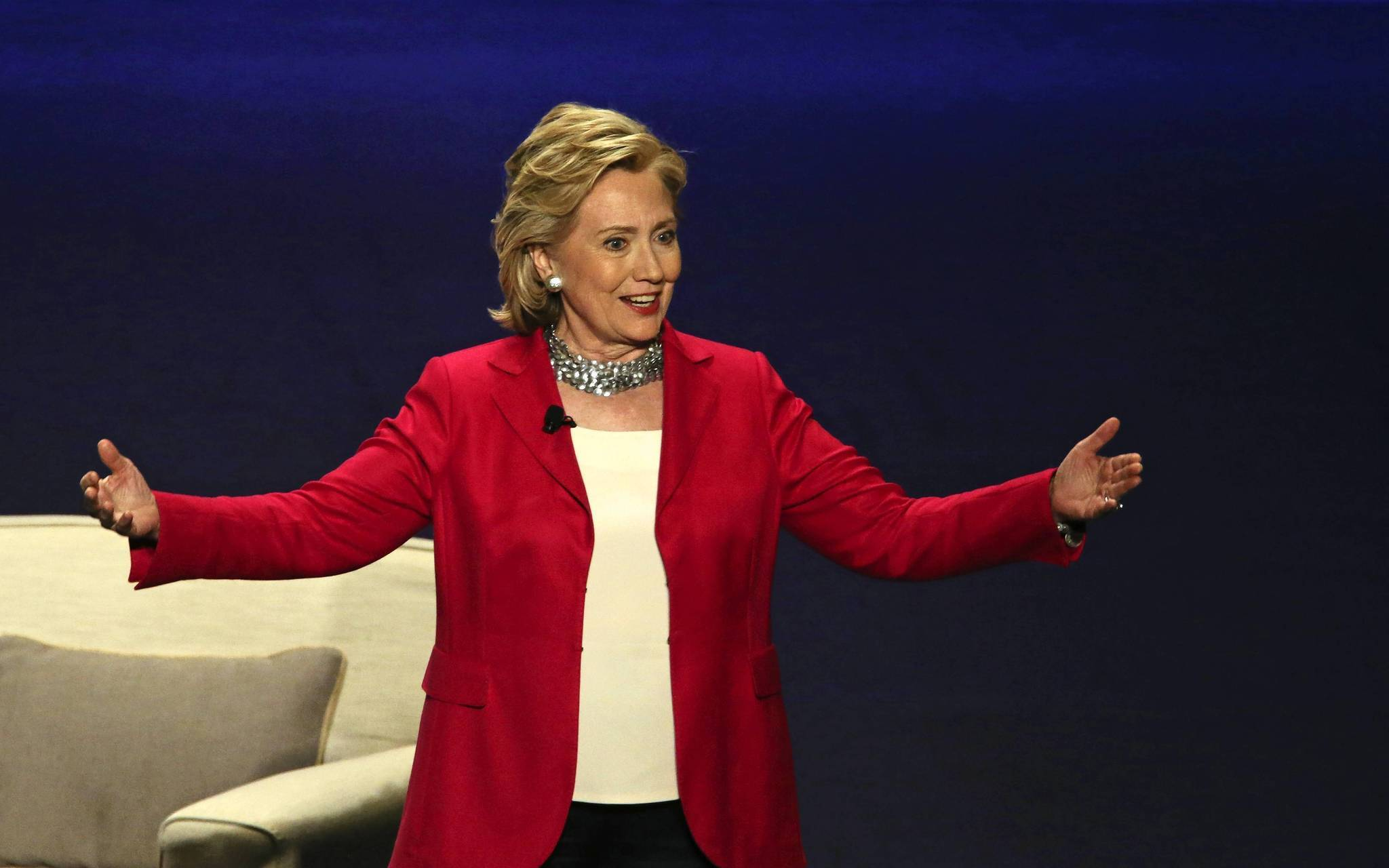 Former U.S Secretary of State Hillary Rodham Clinton gives the keynote speech for the United Fresh 2014 convention at Arie Crown Theater, in Chicago.