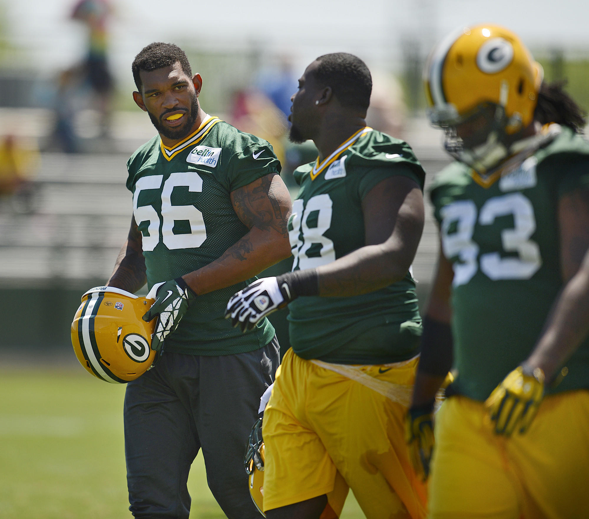 Green Bay Packers' Julius Peppers (left) during practice in May.