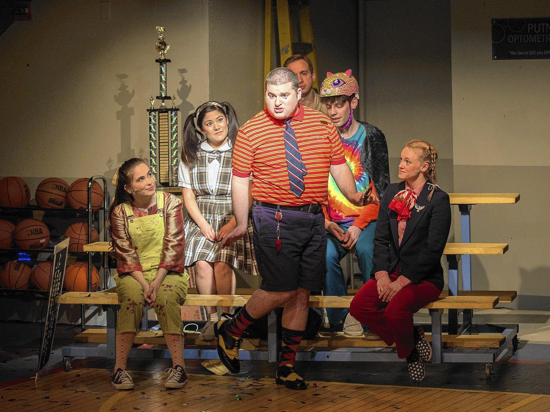 """The 25th Annual Putnam County Spelling Bee"" features Steven Mooney as Barfee in center, surrounded (left to right) by Natalie Sannes (Olive), Maya Naff (Marcy), Scott Scaffidi (Chip), Kevin Barlowski (Leaf), and Hillary Ekwall (Schwarzy)."