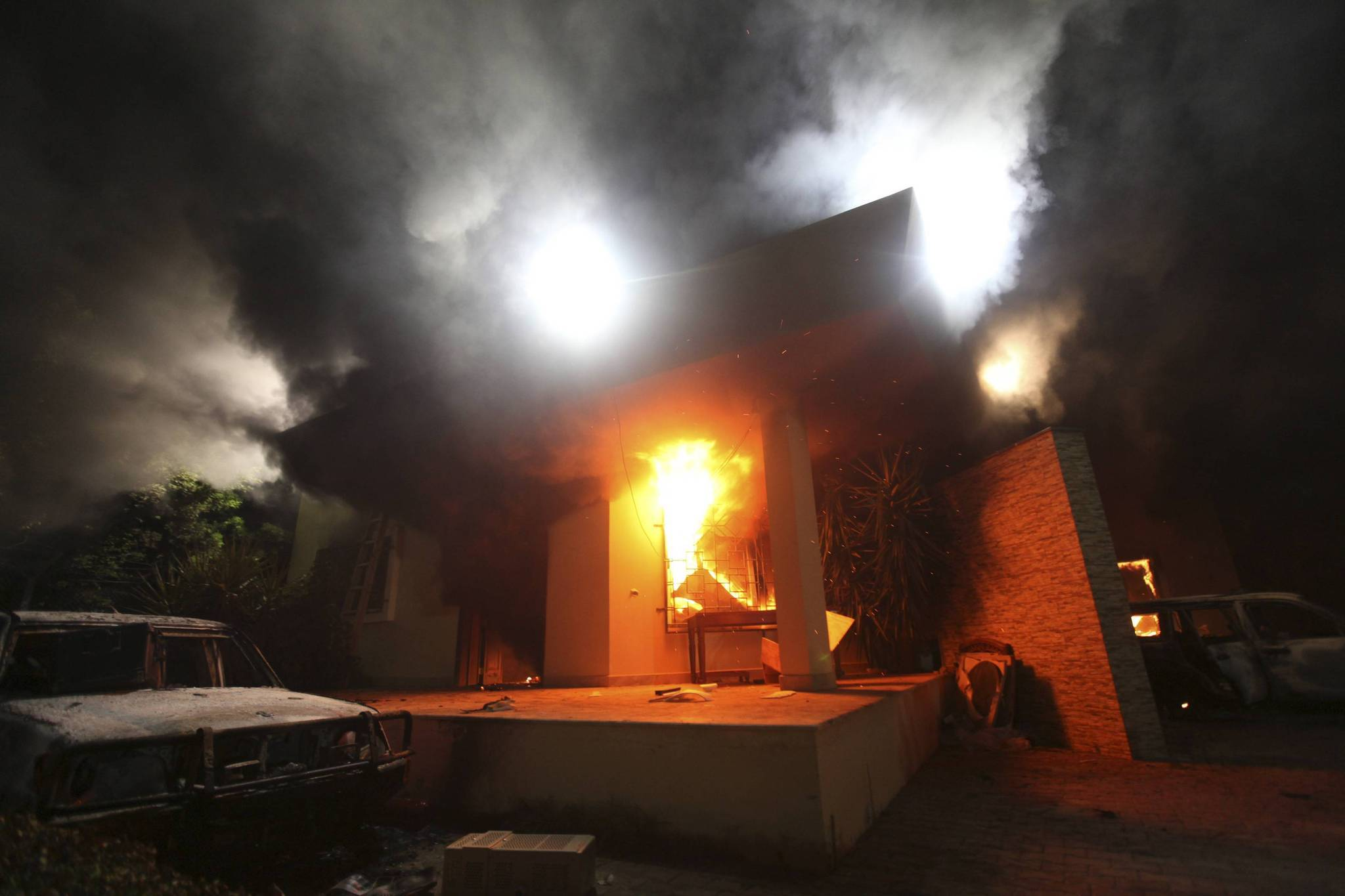 The U.S. Consulate in Benghazi is seen in flames during a 2012 attack that killed four Americans.