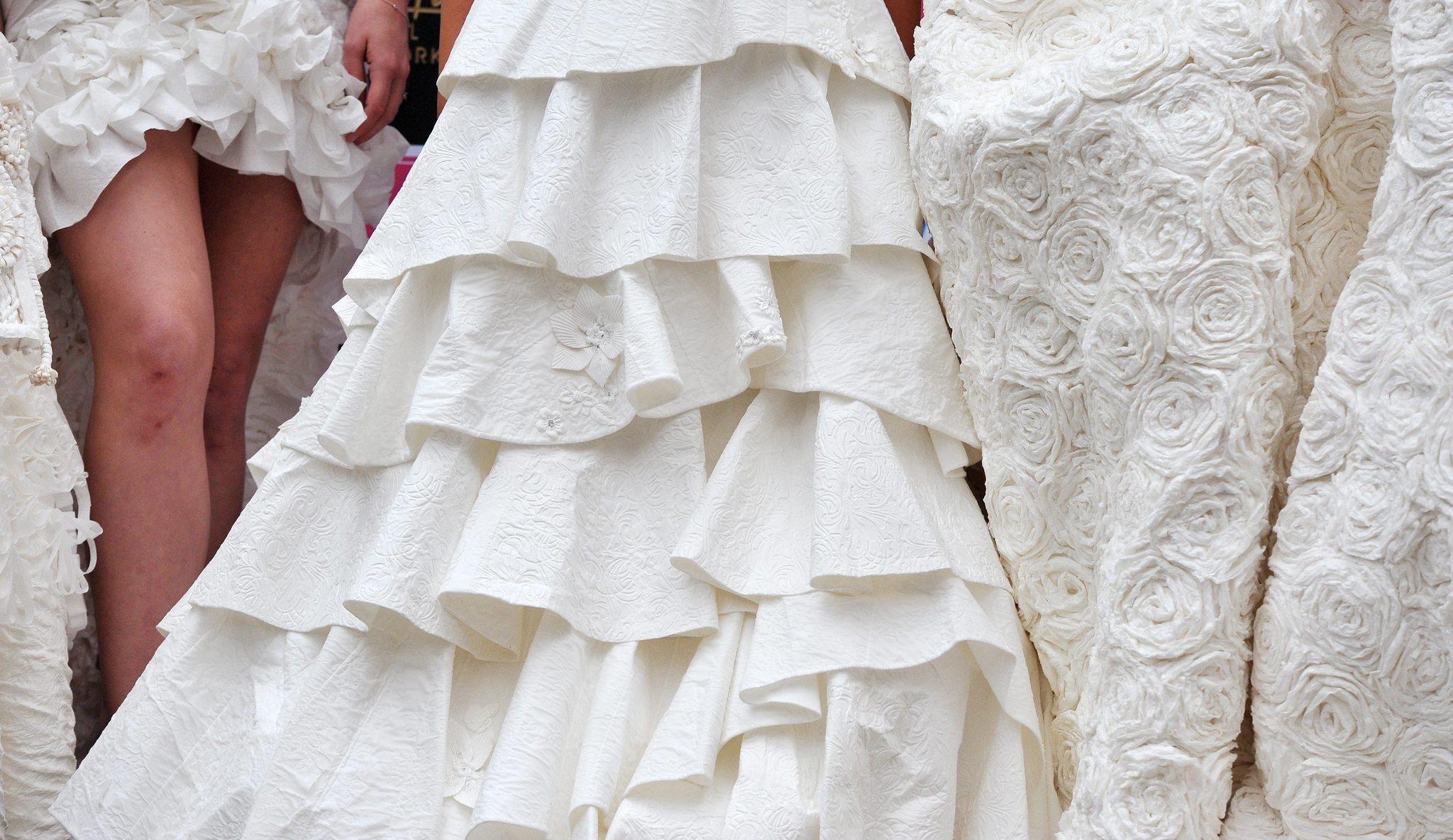 Toilet paper wedding dress chicago tribune for Toilet paper wedding dress 2017