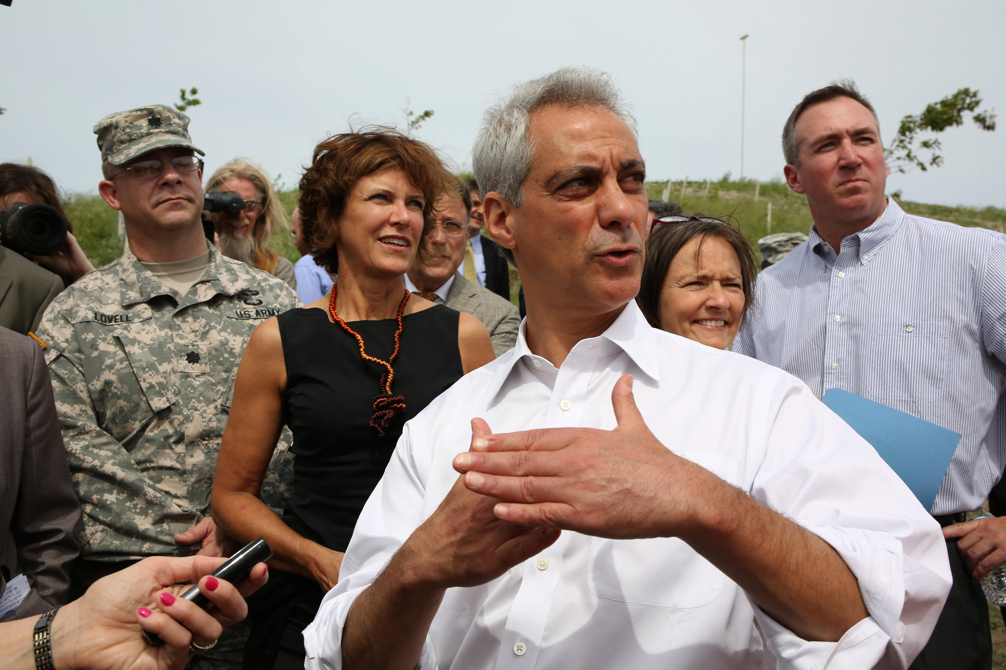 Mayor Rahm Emanuel, architect Jeanne Gang and other officials tour the Northerly Island site on Tuesday.