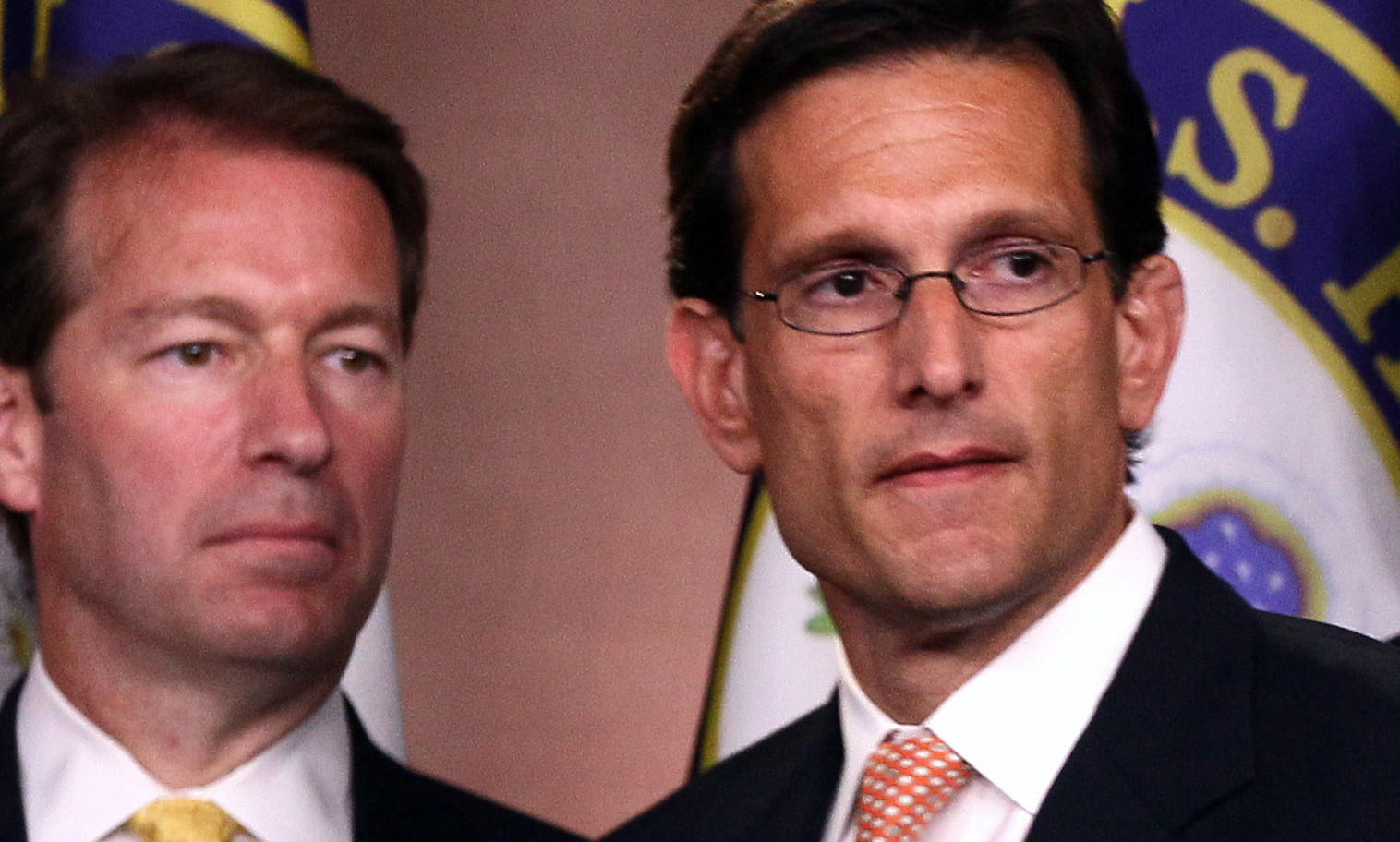 Chief Deputy Whip Peter Roskam, R-Ill (Left) and U.S. House Majority Leader Eric Cantor (R-VA) during press conference on a balanced budget amendment at the U.S. Capitol on July 14, 2011.
