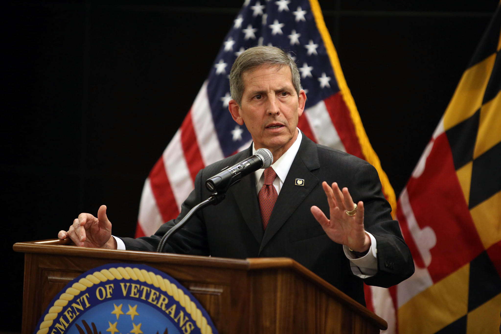 Acting Secretary of Veterans Affairs Sloan Gibson speaks during a visit at the Baltimore VA Medical Center.