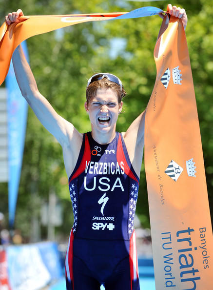 Lukas Verzbicas after winning the triathlon World Cup event in Banyoles, Spain.