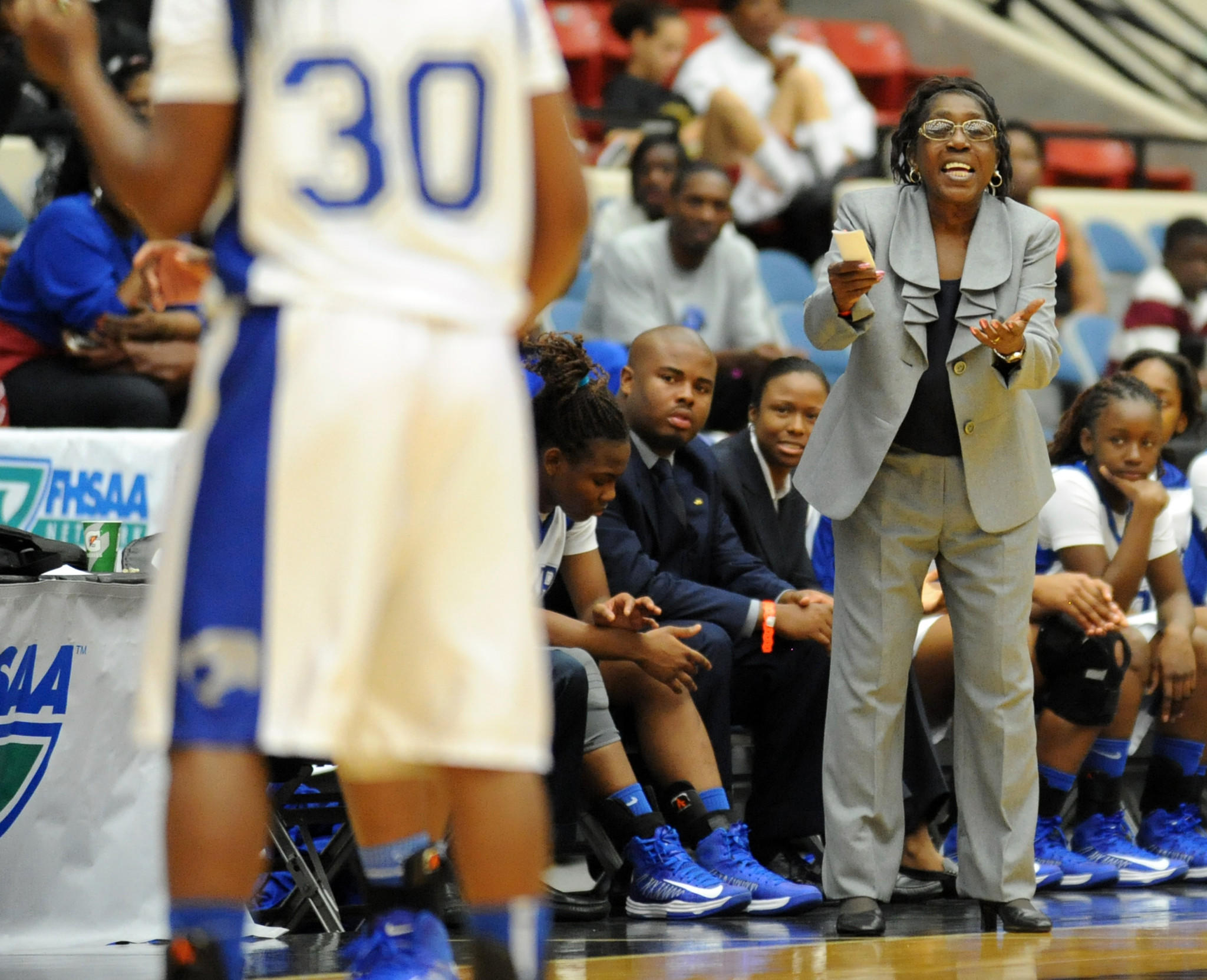 Dillard girls basketball coach Marcia Pinder was inducted into the National High School Athletic Coaches Association Hall of Fame on Tuesday in Wyoming.