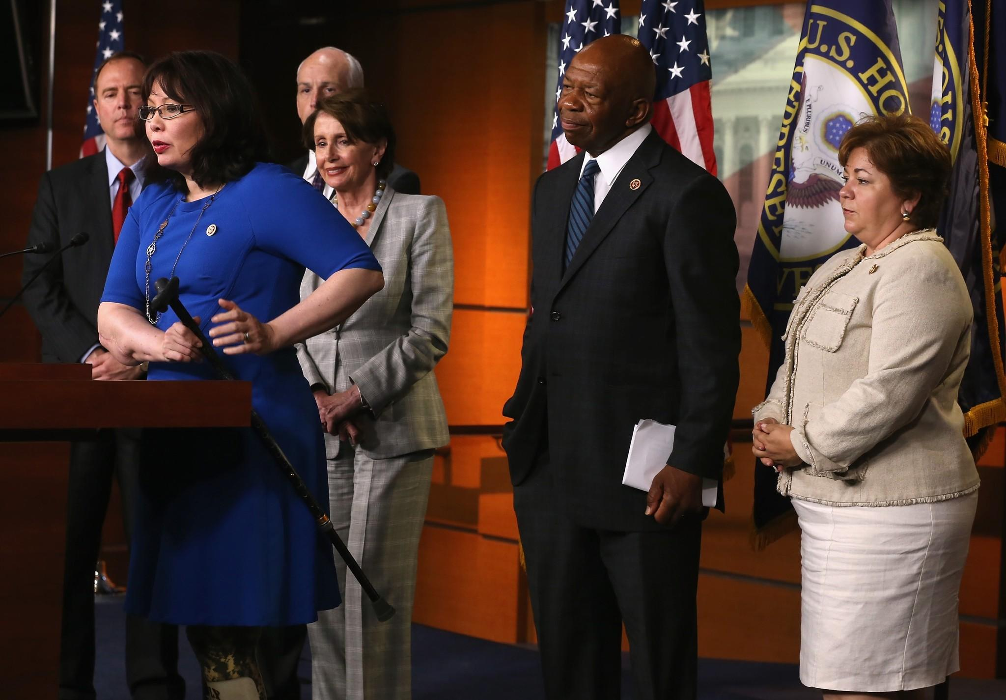 U.S. Rep. Tammy Duckworth (D-IL) speaks during a news conference on Capitol Hill, May 21, 2014 in Washington, DC.
