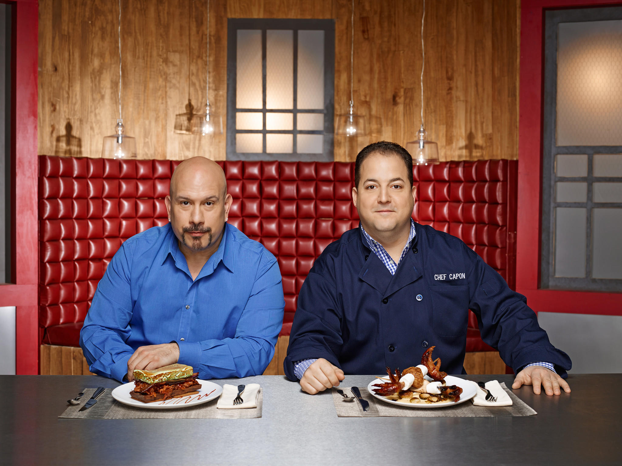 """Frankenfood"" judge Tony Luke Jr (left) and host/judge Josh Capon (right)."