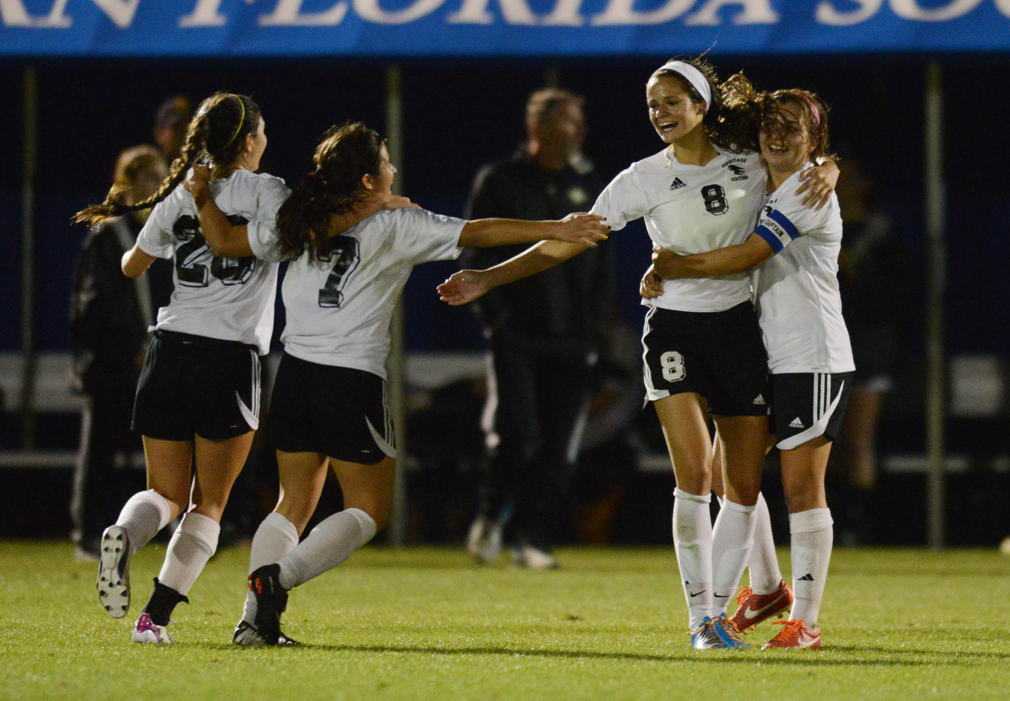 American Heritage celebrates winning the Class 3A state soccer title.