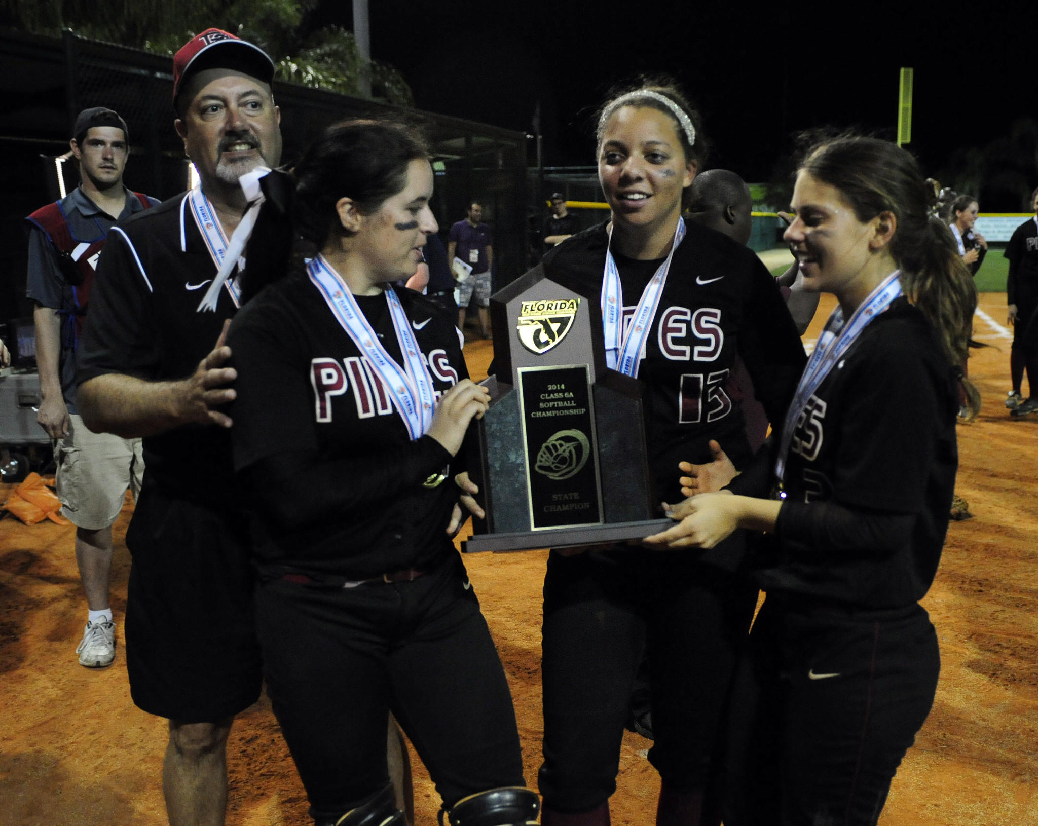 Pembroke Charter celebrates winning the Class 6A softball championship.