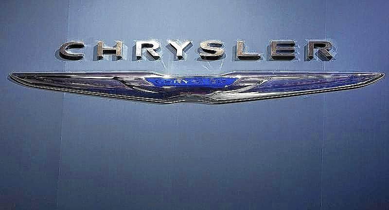 A Chrysler logo is pictured at the Jacob Javits Convention Center during the New York International Auto Show in New York