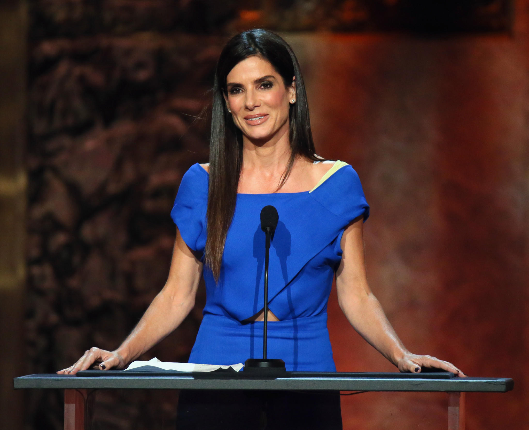 Sandra Bullock speaks onstage at the 2014 AFI Life Achievement Award: A Tribute to Jane Fonda at the Dolby Theatre on June 5, 2014.