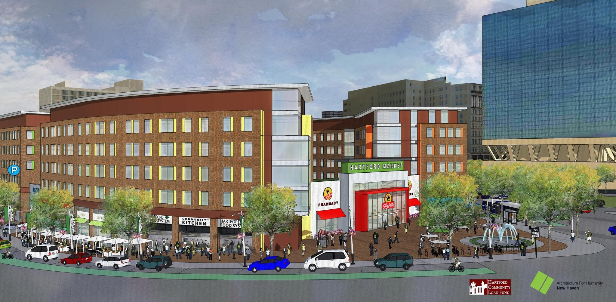 An artist rendering of what the supermarket on the 12B site might have looked like.