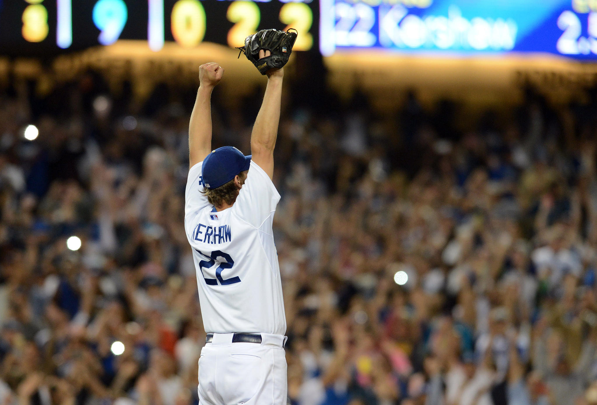 Dodgers starting pitcher Clayton Kershaw celebrates after recording the final out of his no-hitter against the Rockies at Dodger Stadium.
