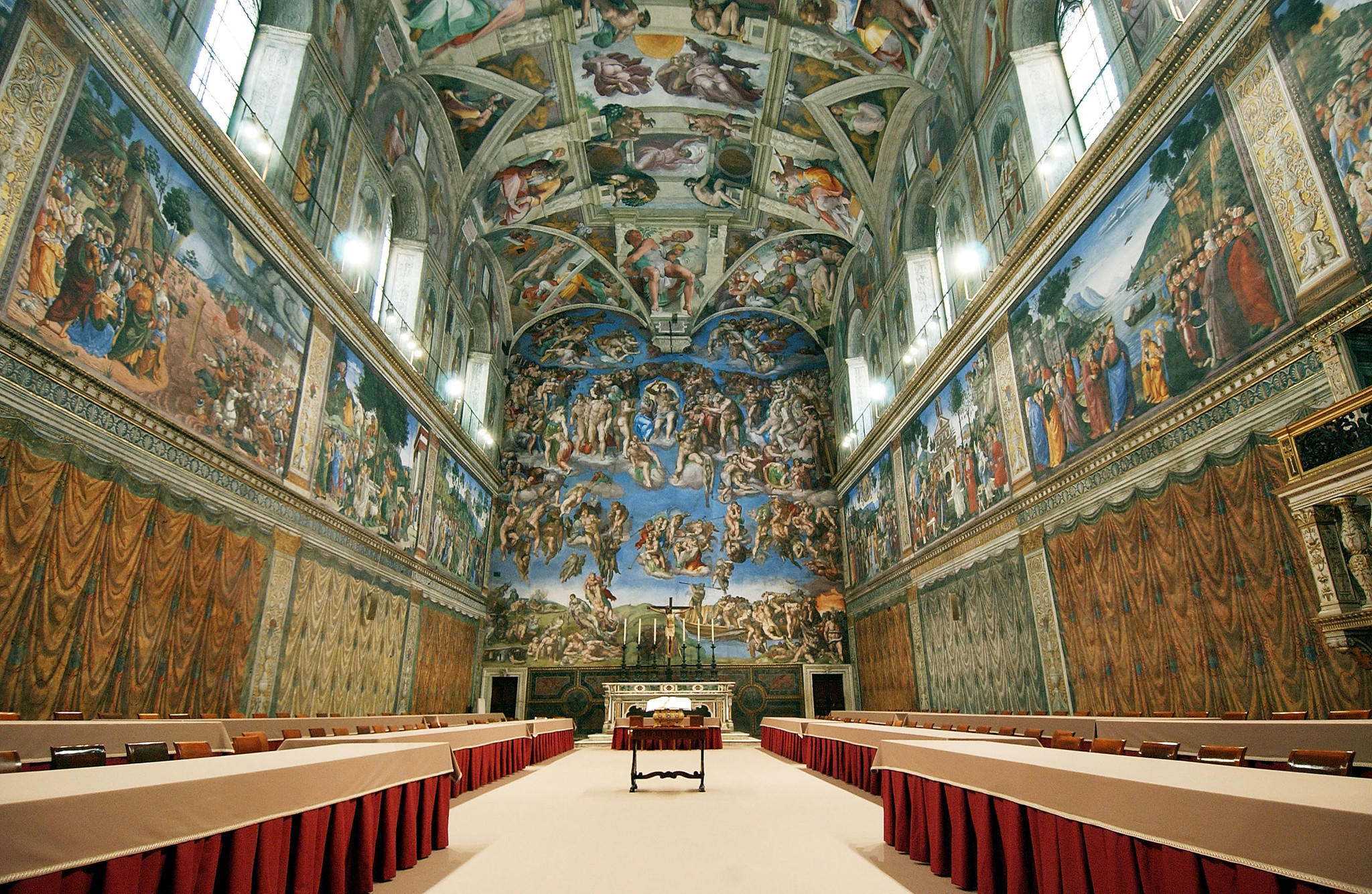 The Sistine Chapel, shown here prepared for a conclave, is getting a new air conditioning unit from Carrier, a division of United technologies Corp.