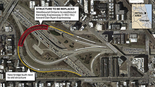 Guide to weekend Kennedy Expressway work: The final weekend of closings on and near the Kennedy Expressway begins Friday night as crews work to demolish an overpass ramp.