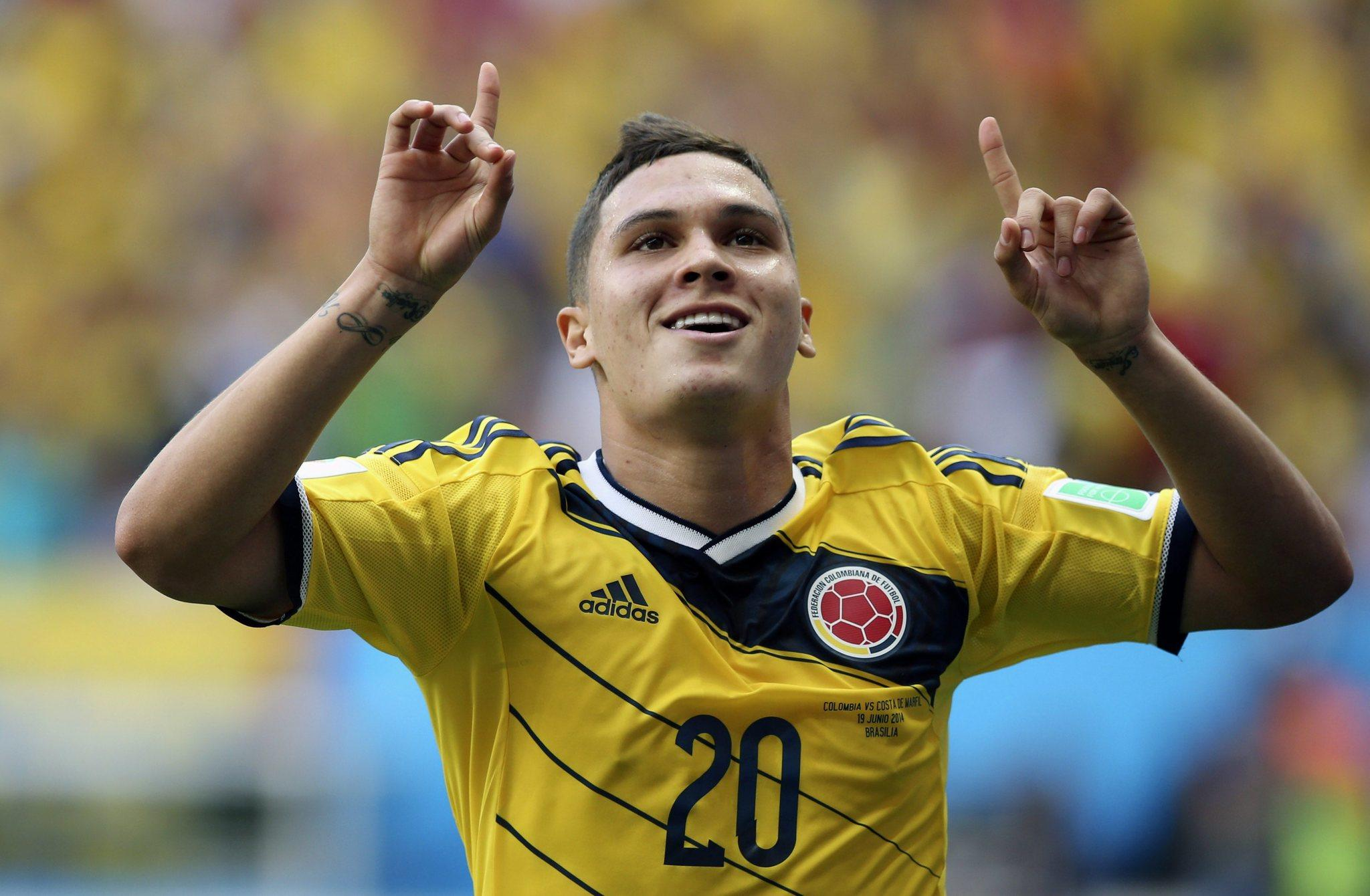 Juan Quintero of Colombia celebrates after scoring Thursday.