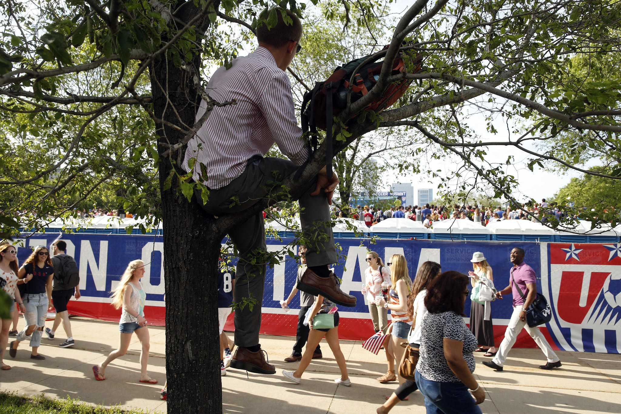 USA fan Brian Hunscher of Ann Arbor, Michigan watches from a tree in Chicago's Grant Park as the U.S. Men's National team plays Ghana in a World Cup match on Monday.