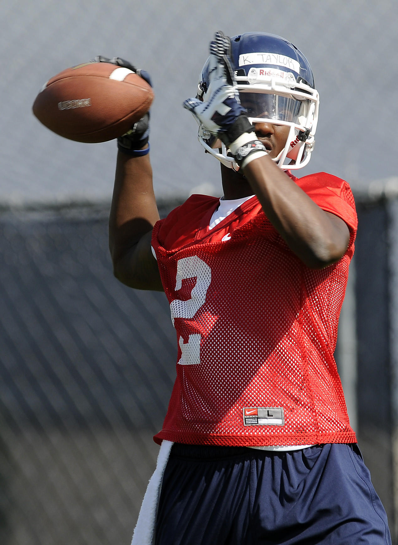 Kivon Taylor, here practicing last August, is no longer a UConn Huskie.