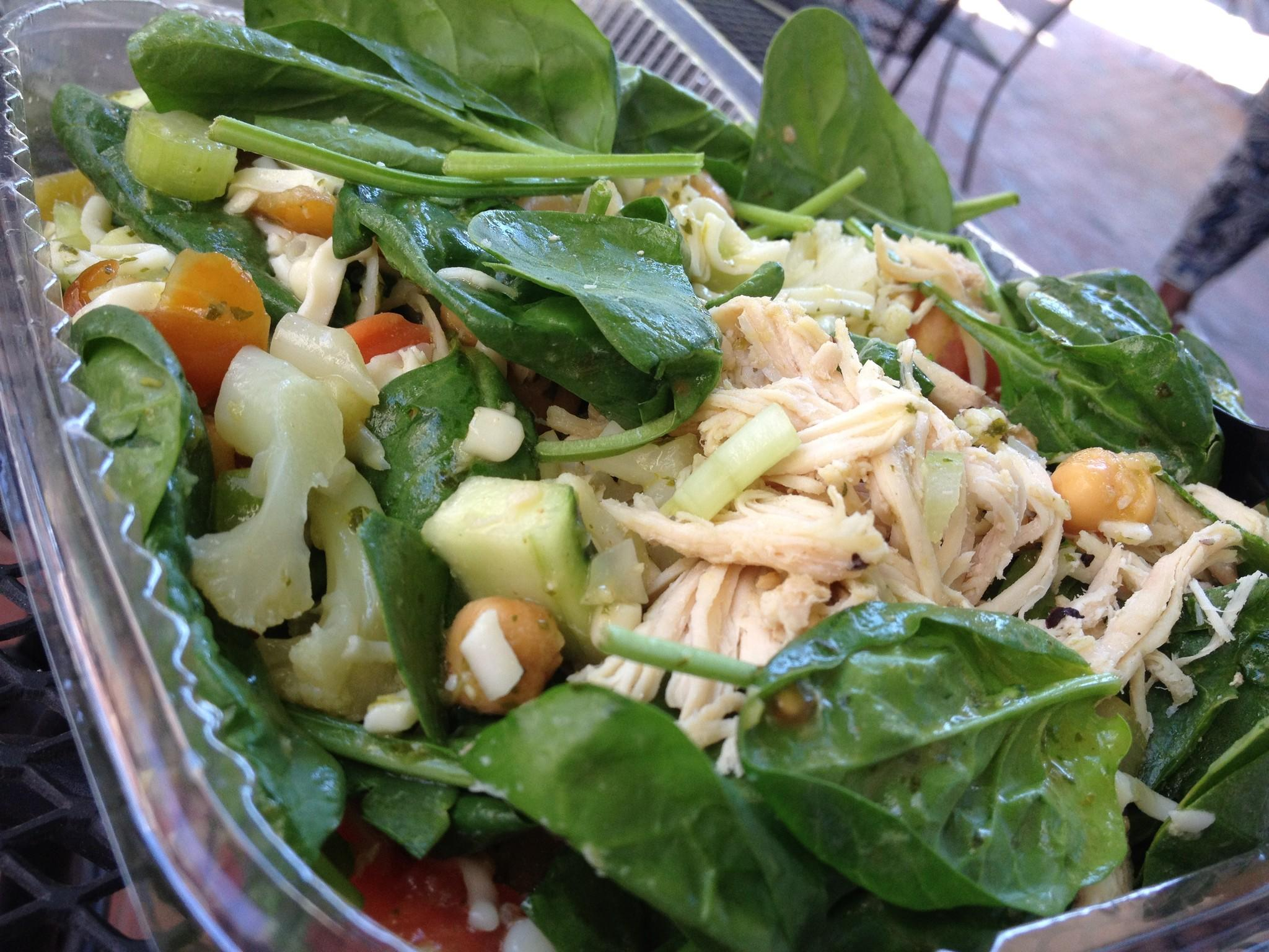 A salad with with pulled chicken and vegetables at Nalley Fresh, a make-it-yourself cafe on the corner of Calvert and Baltimore streets.