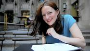 """Gwendolyn Whiteside, star of the the one-person show """"Grounded,"""" outside Tribune Tower."""