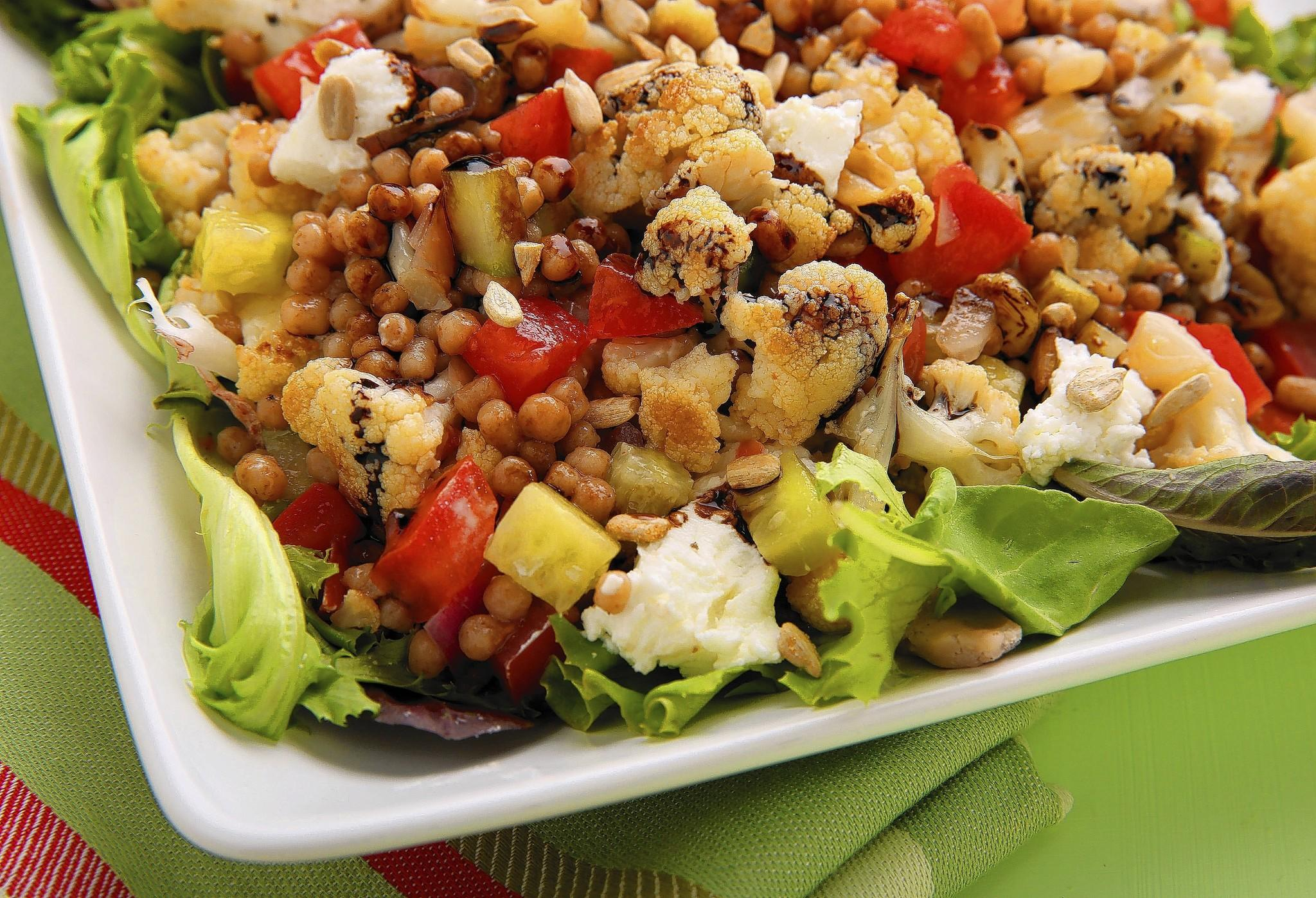 Couscous salad with roasted cauliflower and Dijon.