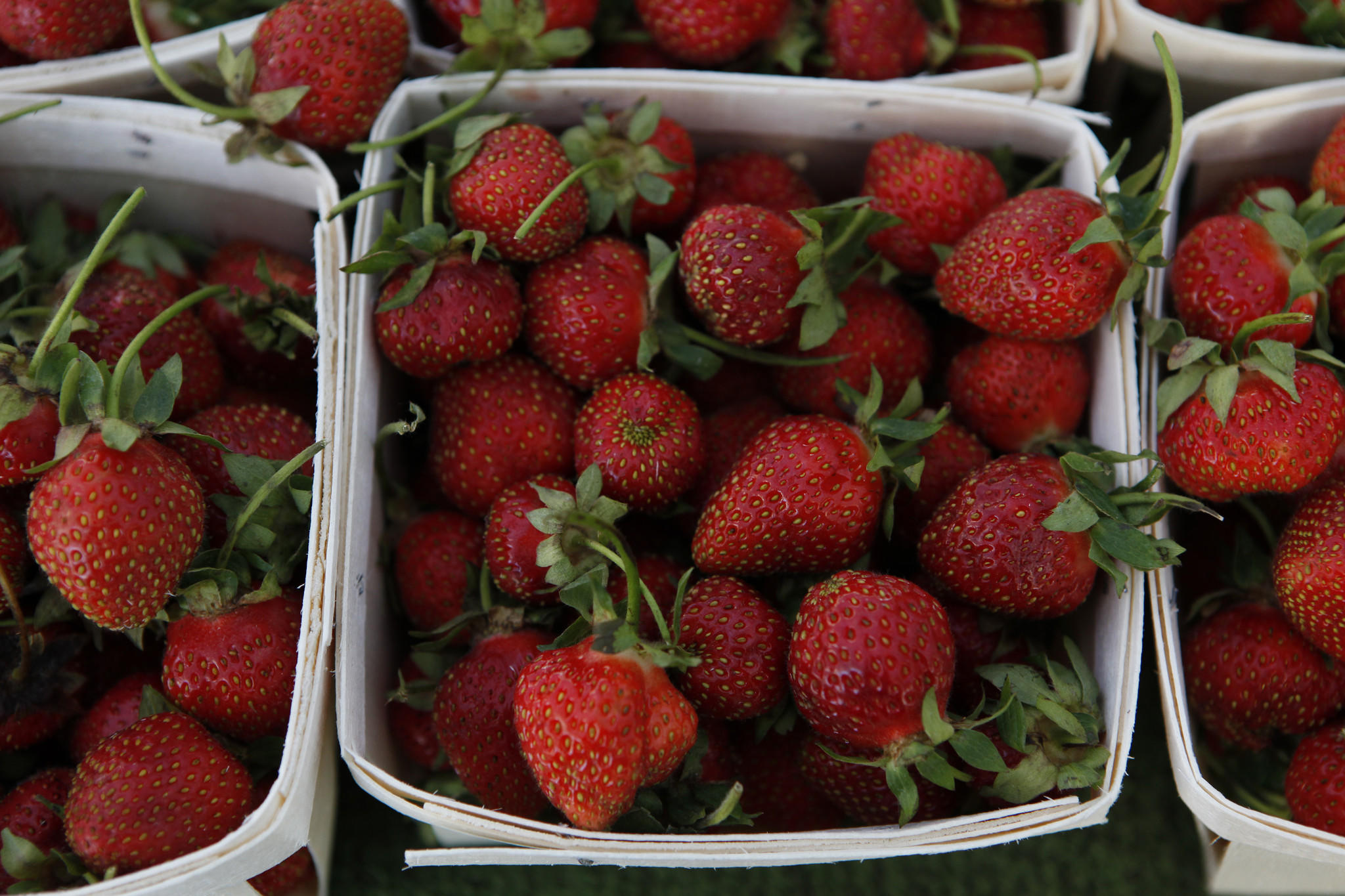 Strawberries at the Nichols Farm & Orchards (of Marengo, Ill.) booth at the Green City Market in Chicago's Lincoln Park neighborhood.