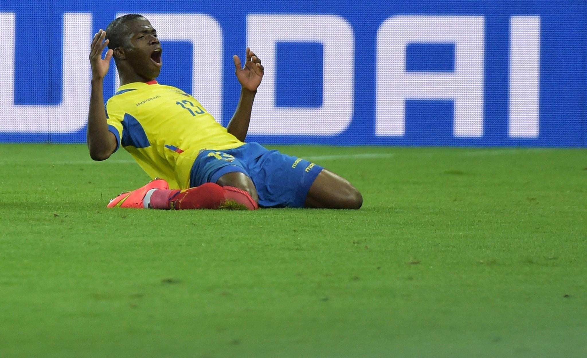 Ecuador forward Enner Valencia celebrates after scoring a second goal during a Group E football match between Honduras and Ecuador during the 2014 FIFA World Cup on June 20.